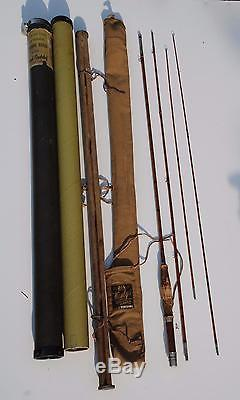 1915-30 Montague City 9' Bamboo Fly Rod Fly Fishing Trout 3 pc 2 tips Hardy Case
