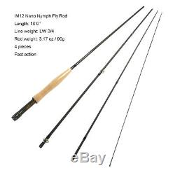 Aventik IM12 Nano Nymph Fly Rod 3/4wt 10ft 4Piece Fast Action Fly Fishing Rods