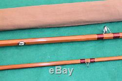 Farlow Sharpes Aberdeen 10' spliced joint cane trout fly fishing rod & bag