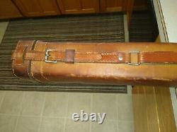 RARE Vintage Lyon & Coulson Leather Multi Fly Fishing Rod Carry Case felt lined