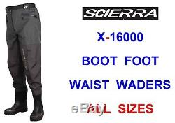 Scierra X-16000 Breathable Boot Foot Waist Waders For Fly Rod Reel Line Fishing