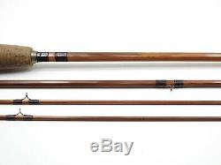 Vintage Unmarked Orvis Bamboo Fly Rod. 8' 6 3-piece. With Tube and Sock